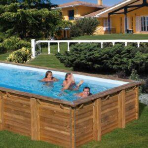 CARRA -Piscina legno quadrata sistema omega 300×300 h 119